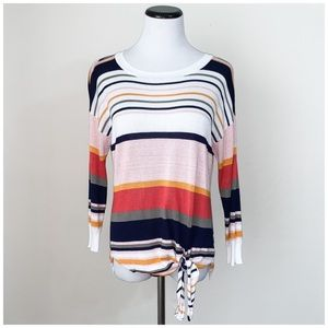 Westport multi color stripe long sleeve top